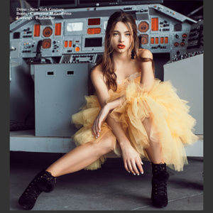 One of a Kind YELLOW Ballerina Bustier PARTY Dress
